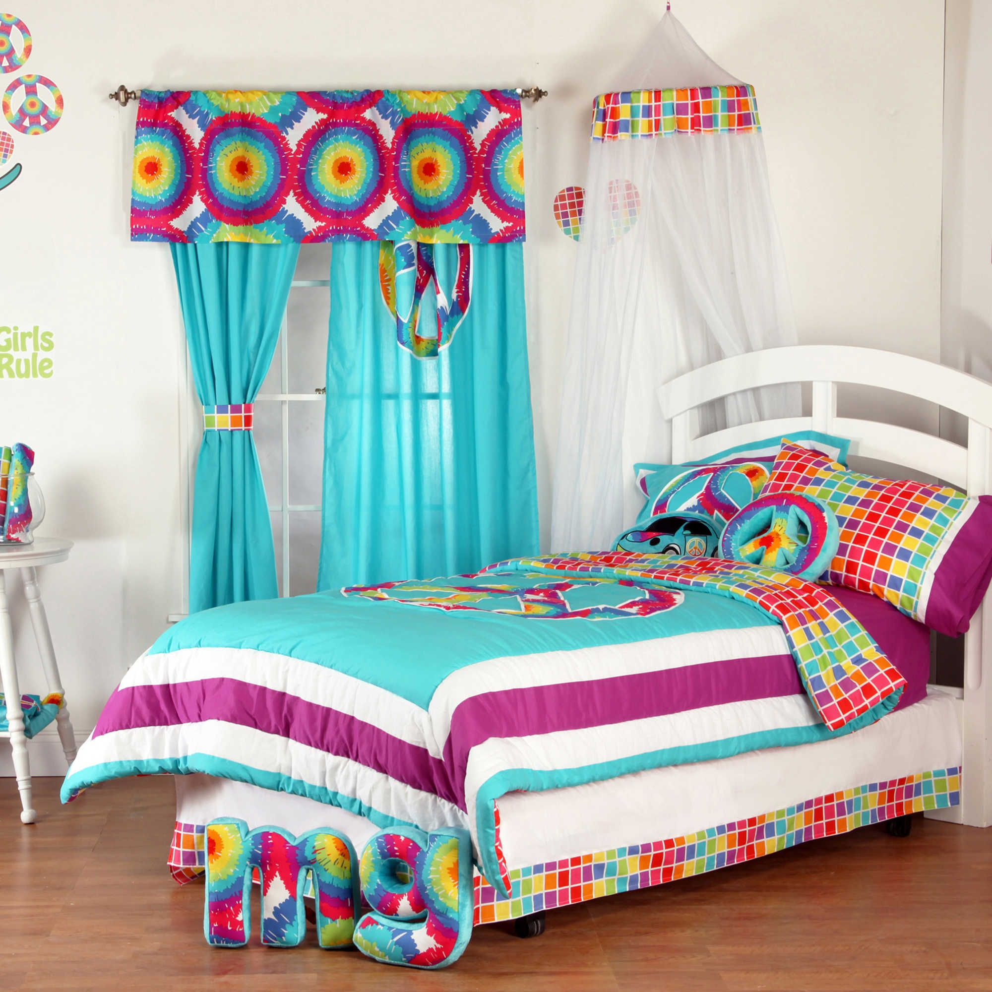 tie dye bed sheets with side table and pretty curtains for
