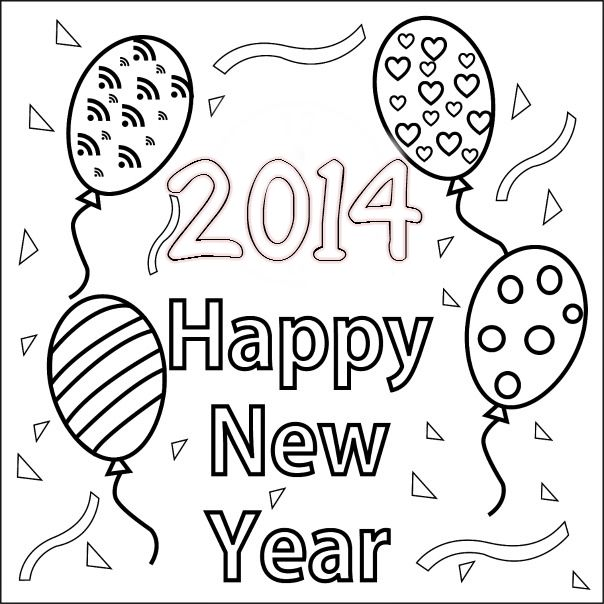 Happy New Year Printable Coloring Pages