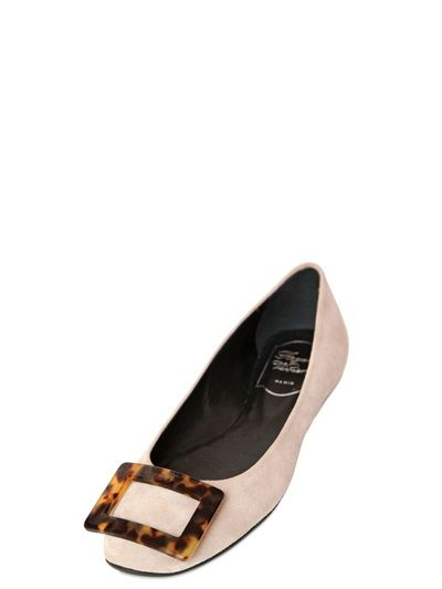 Roger Vivier 10MM GOMMETTE TURTLE BUCKLE SUEDE FLATS ma5RNg
