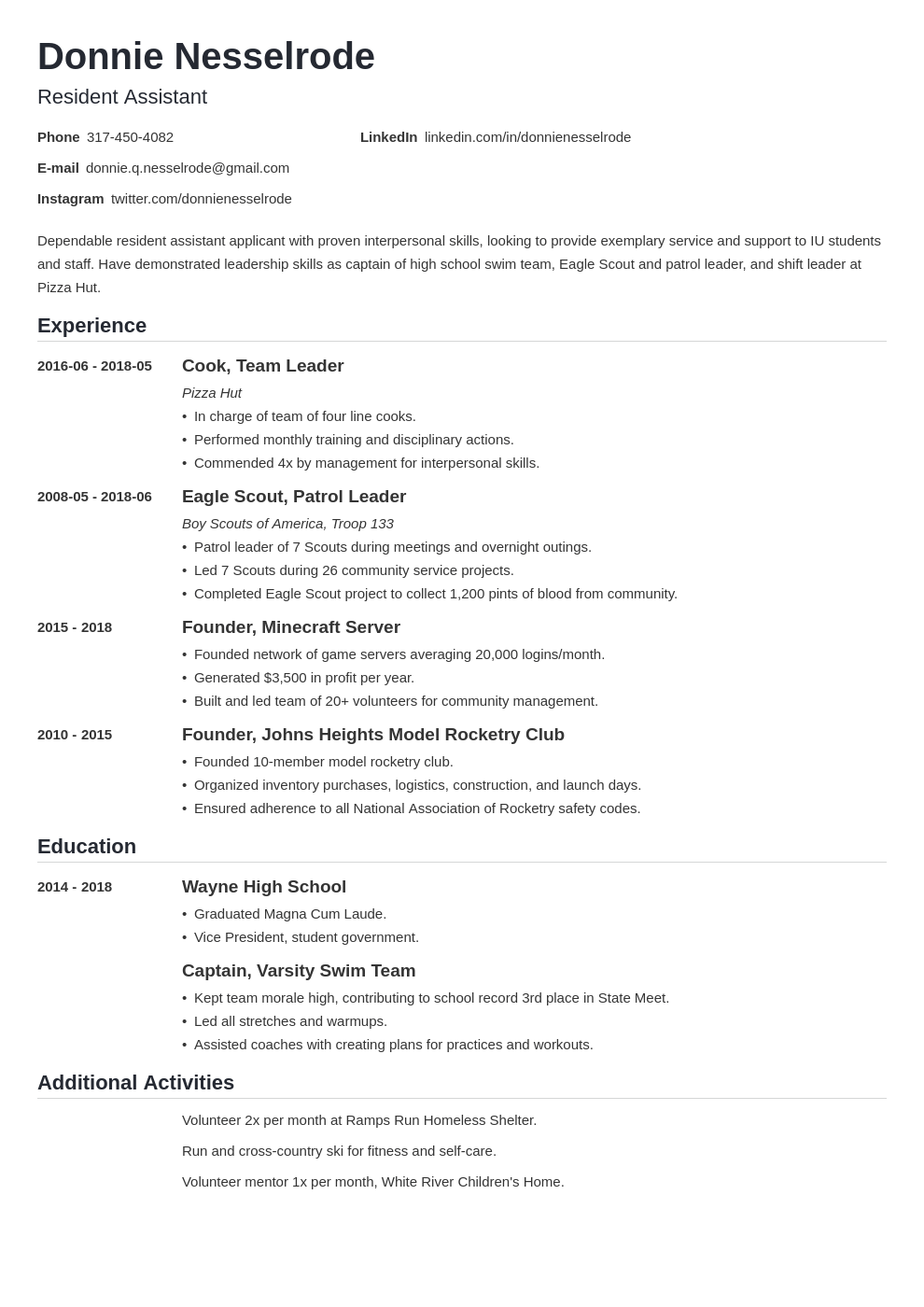 Resident Assistant Resume Example Template Nanica Resume Examples Best Resume Format Resident Assistant