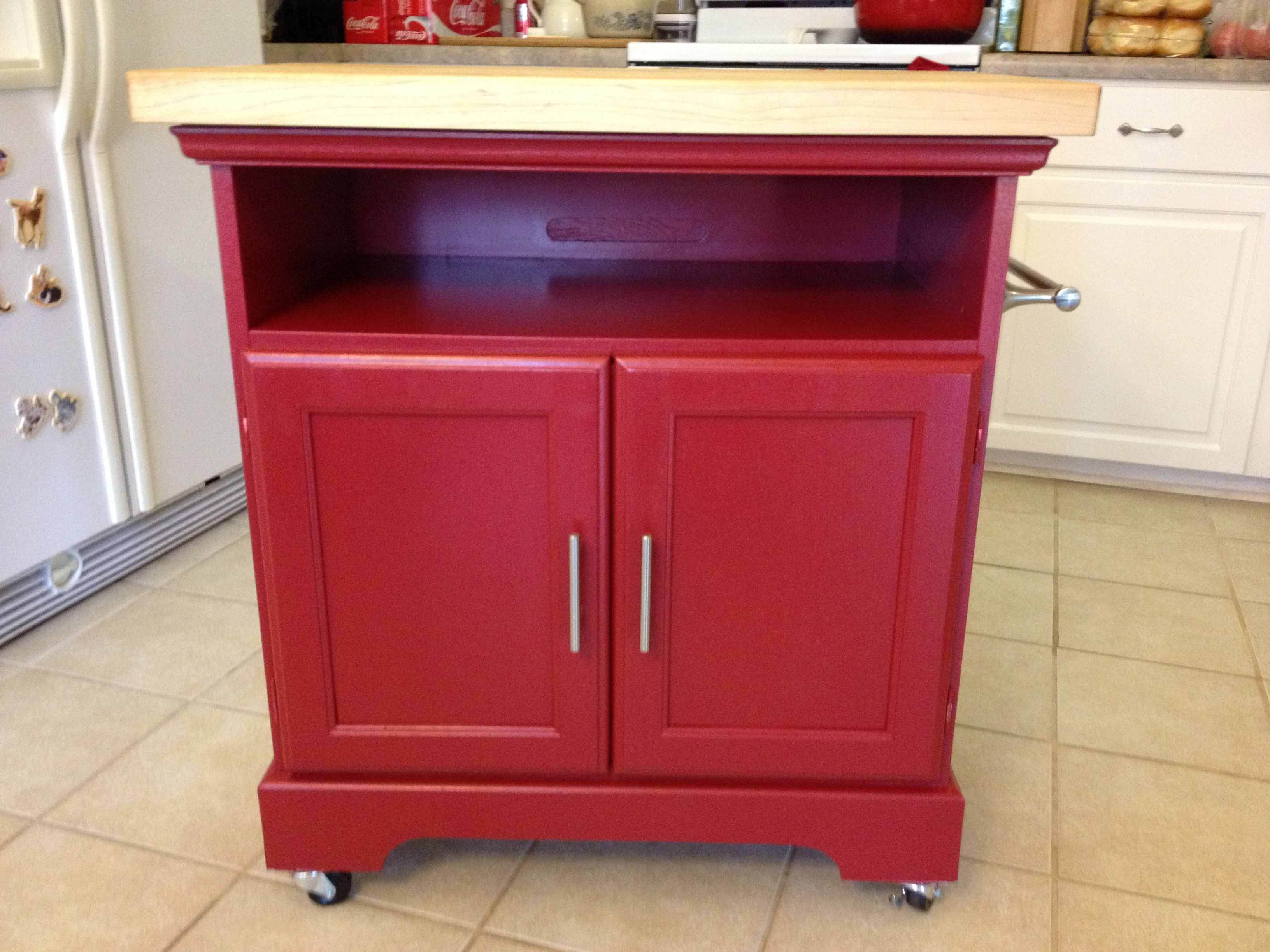 A Rolling Kitchen Cart Made From Repurposed Bathroom Cabinet Added Locking Casters Butcher Block Top Towel Ba Rolling Kitchen Cart Kitchen Roll Kitchen Cart