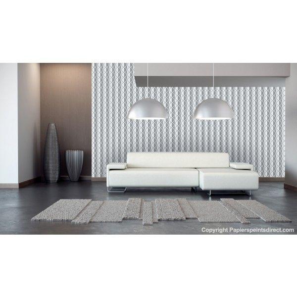 Papier peint blanc, gris à motifs  Yankee chambre, entrée, pièce à - papier peint pour chambre a coucher