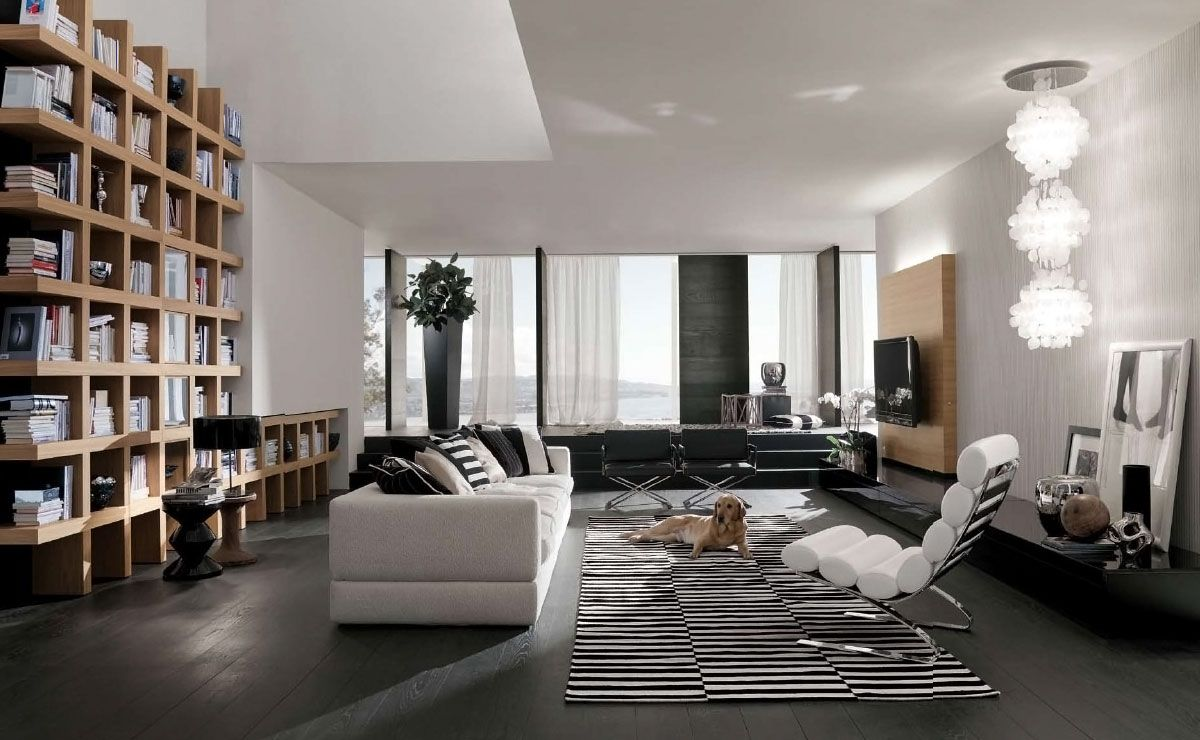 Superb Fashionable Design Modern Living Room Interior With Bright Minimalist Sofas  And Contemporary Home Library Bookshelves Design Inspirations