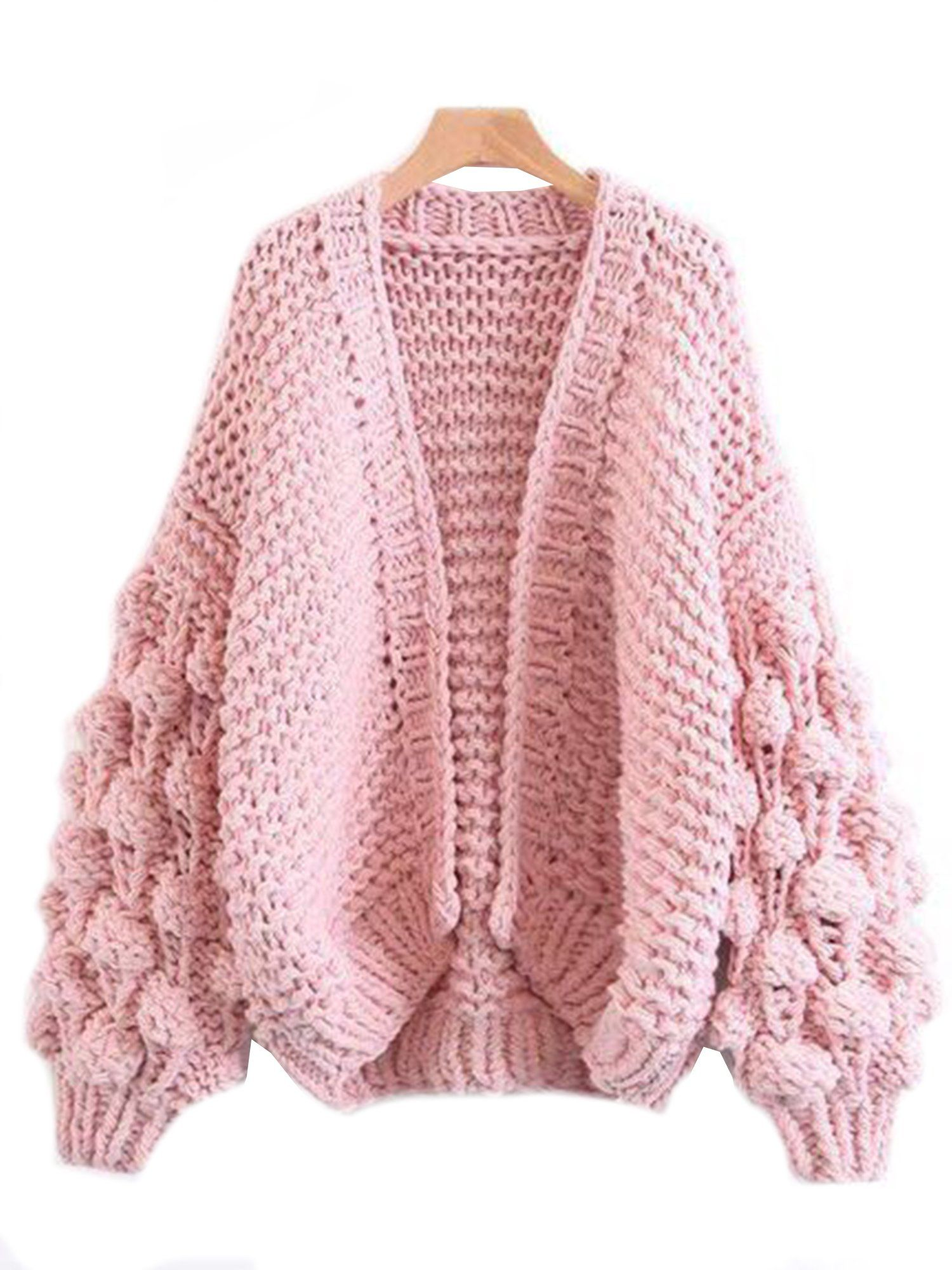 cea517dec2e07  Abbey  Hand-knit Pom Pom Sleeved Chunky Cardigan.