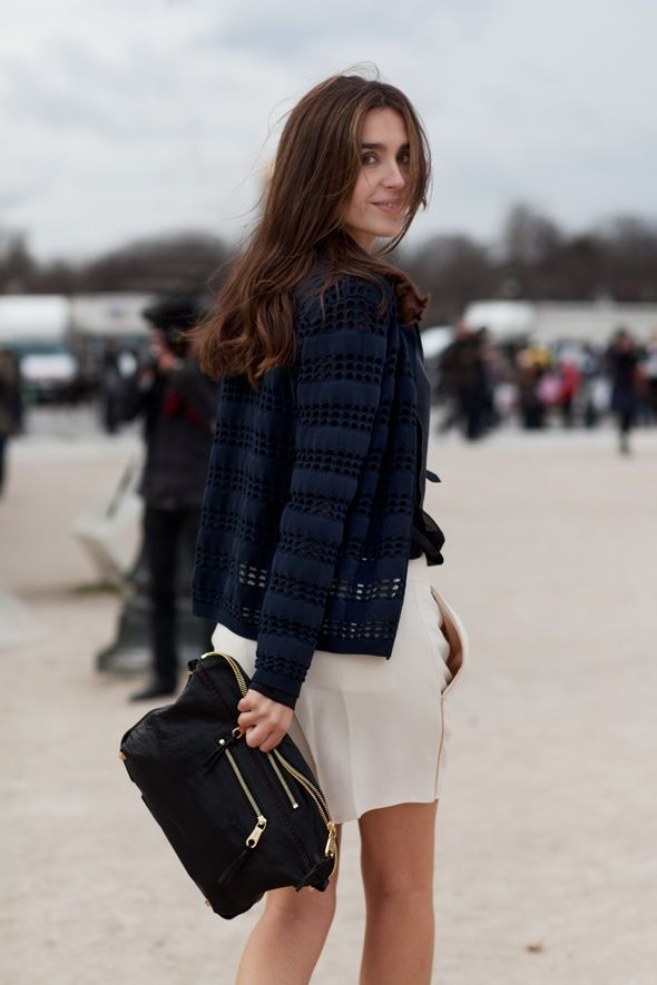 love the cardigan and the clutch