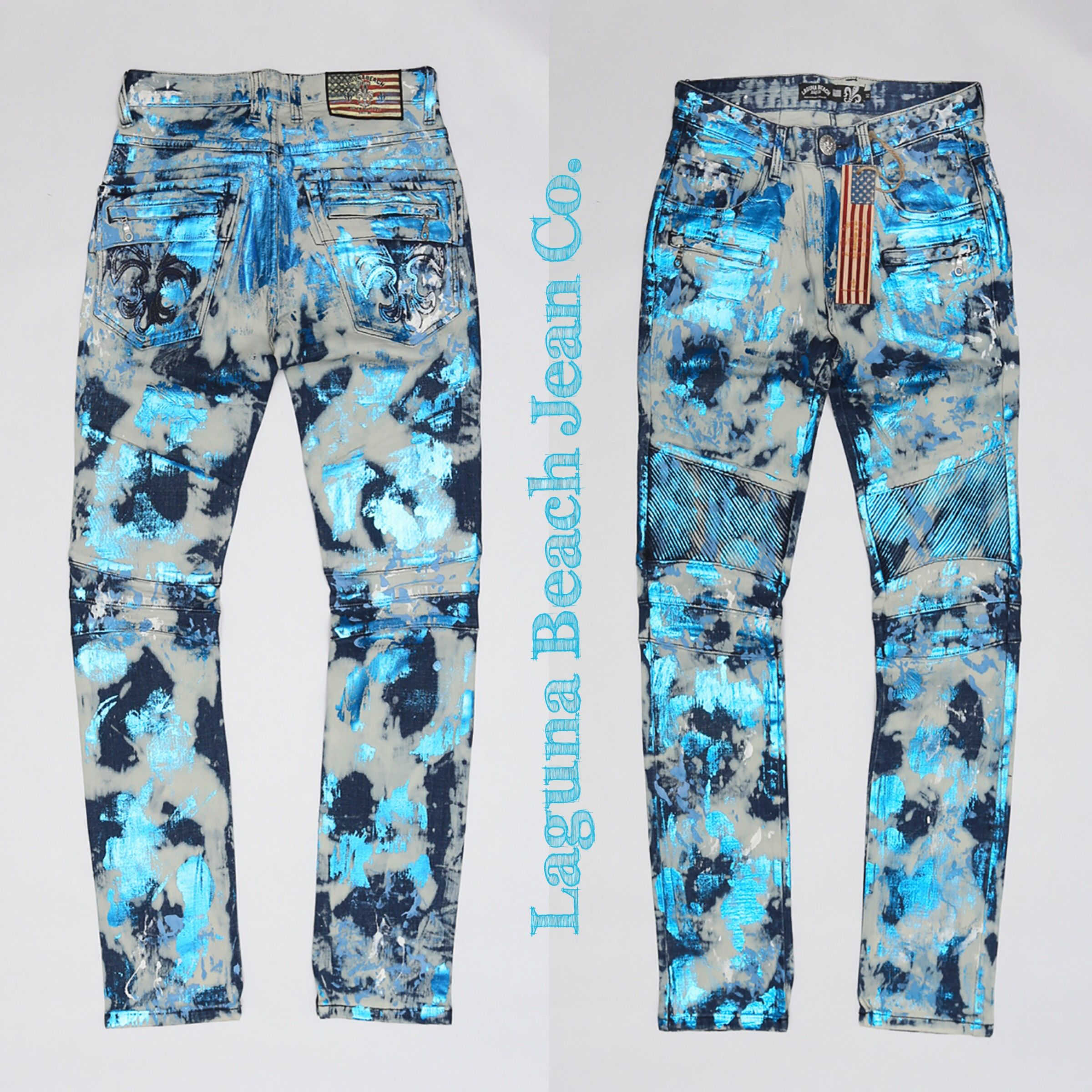 NEW Laguna Beach Jean Co. Foil Print Jeans 👖 available online: http://lagunabeachjc.com/products-men.php?cat=Foil-Moto-Jeans ⚜️ #rocktheoclifestyle @lagunabeachjc #lbjcmotojeans #lbjcdenimworld #lbjcdenim #lagunabeachjeanco #swarovskicrystals