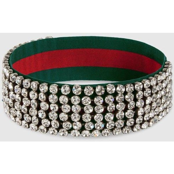 810ff9e74ef Gucci Web Headband With Crystals ( 800) ❤ liked on Polyvore featuring  accessories
