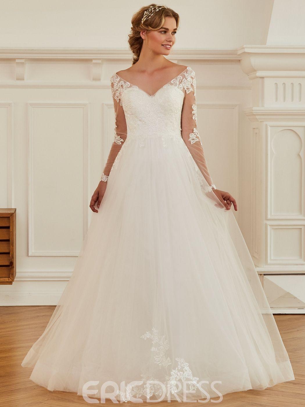 Long sleeve v neck wedding dress  V Neck Ball Gown Appliques Long Sleeves Wedding Dress  Wedding