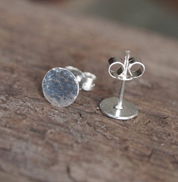Silver Disc Stud Earrings Round Studs Sterling 7mm Post Hammered Texture Finish Handmade By Arc Jewellery Uk