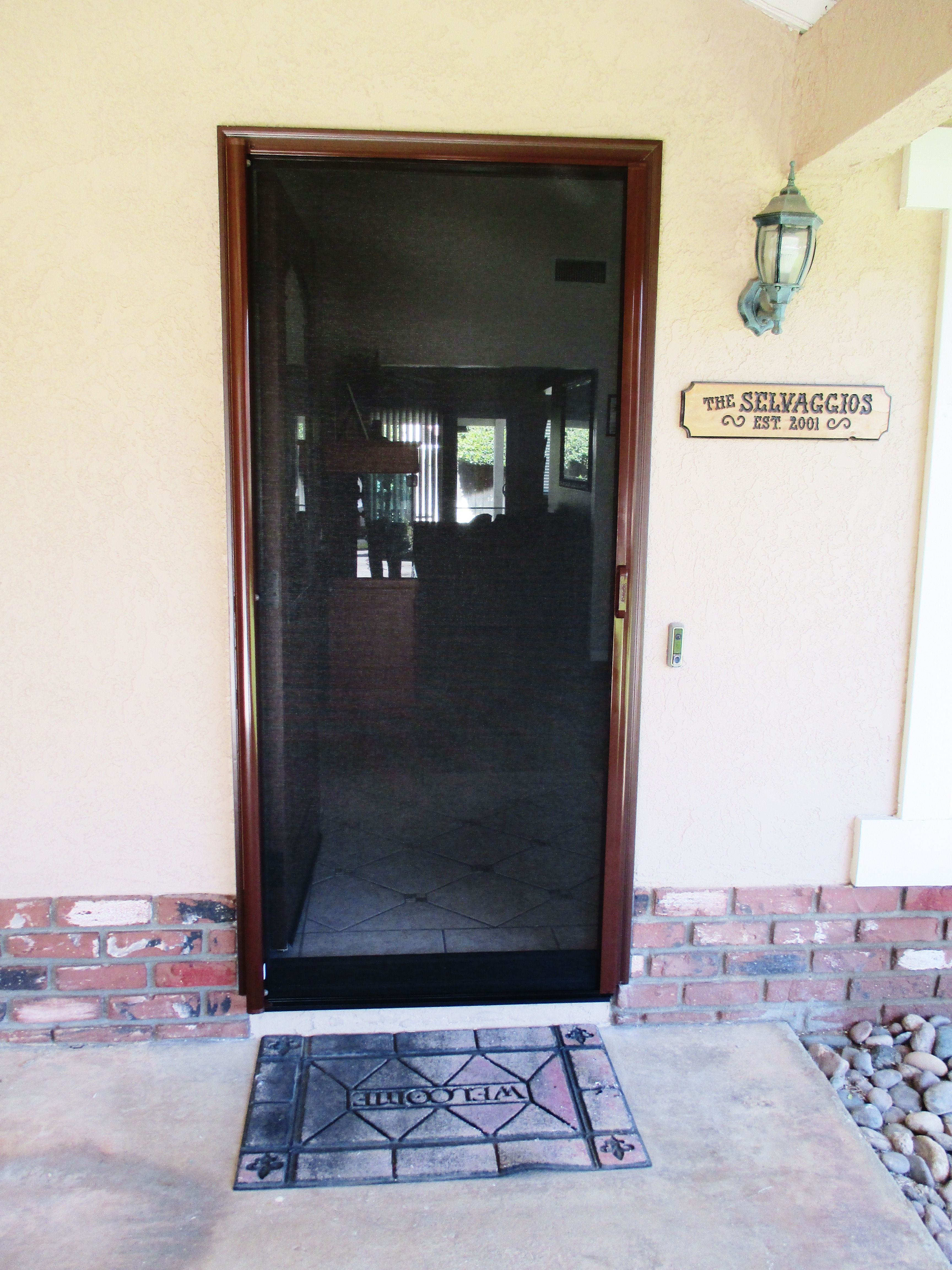 retractable screen doors. Here Is A Mahogany Retractable Screen Door With Black Fiberglass Mesh Installed To Compliment This Welcoming Front In West Covina, California! Doors