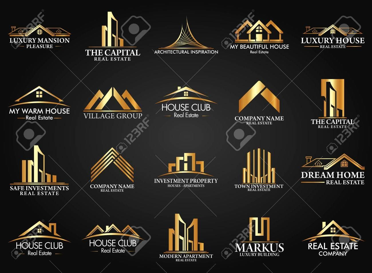 Set And Group Real Estate Building And Construction Vector Logo