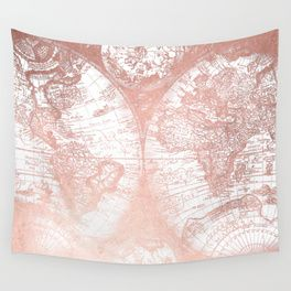 Popular rose gold wall tapestry society6 crazy for rose gold world map shimmer shimmery shiny metallic bronze copper faux rosegold foil desert southwest southwestern style boho bohemian world traveler united states gumiabroncs Images