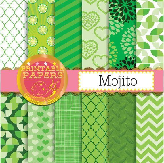 Lime Green Digital Paper Mojito Lime Green Backgrounds For