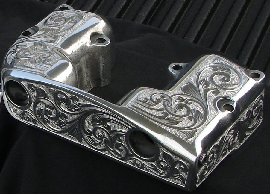 Gun Etched Harley Rocker Box For Shovel Iron Head Also