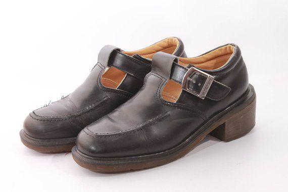 2b13653ba3708 Vintage Dr Martens England Mary Janes Chunky Platform Shoes Size 9.5 ...
