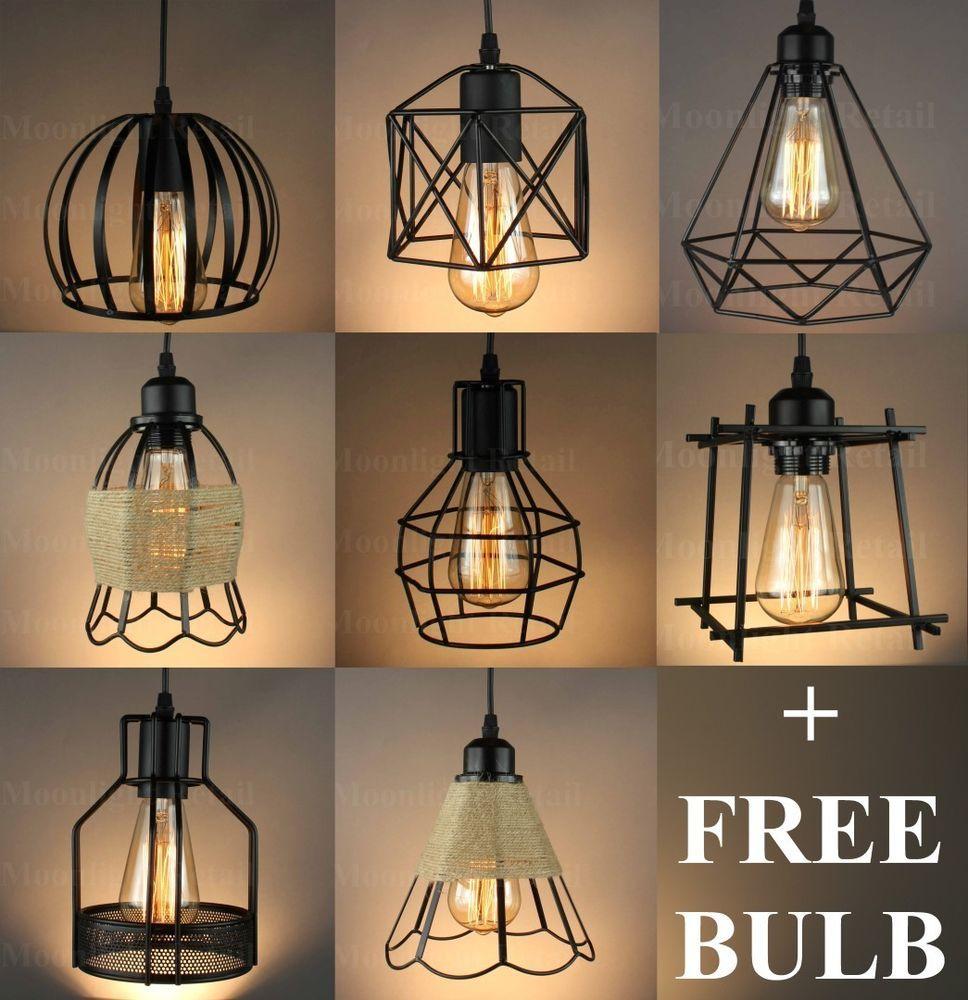Vintage Industrial Metal Cage Black Cafe Loft Bar Pendant Light Lamp Shade Ebay Ceiling Lamp Shades Ceiling Light Shades Bar Pendant Lights