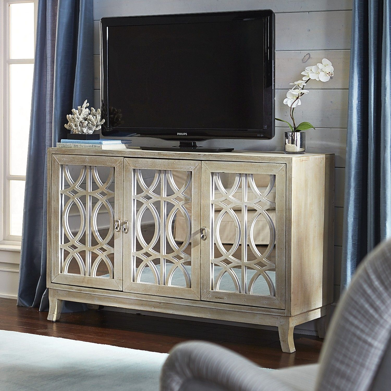 Mirella Mirrored Natural 54 Tv Stand Products Pinterest