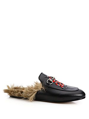 9da4122f738 Gucci Princetown Fur-Lined Snake Leather Slippers - Black - Size ...