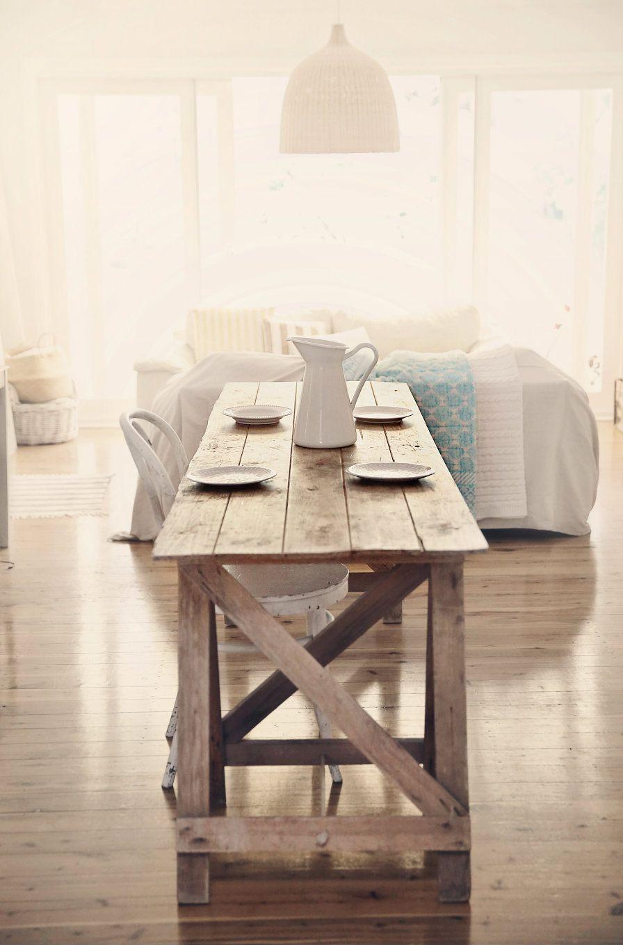 Treasure Hunting Beach Cottage Farmhouse Table For Coastal Vintage