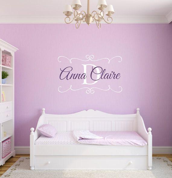 Personalized Baby Nursery Name Vinyl Wall Decal Shabby Chic Frame - Custom vinyl wall decals nursery