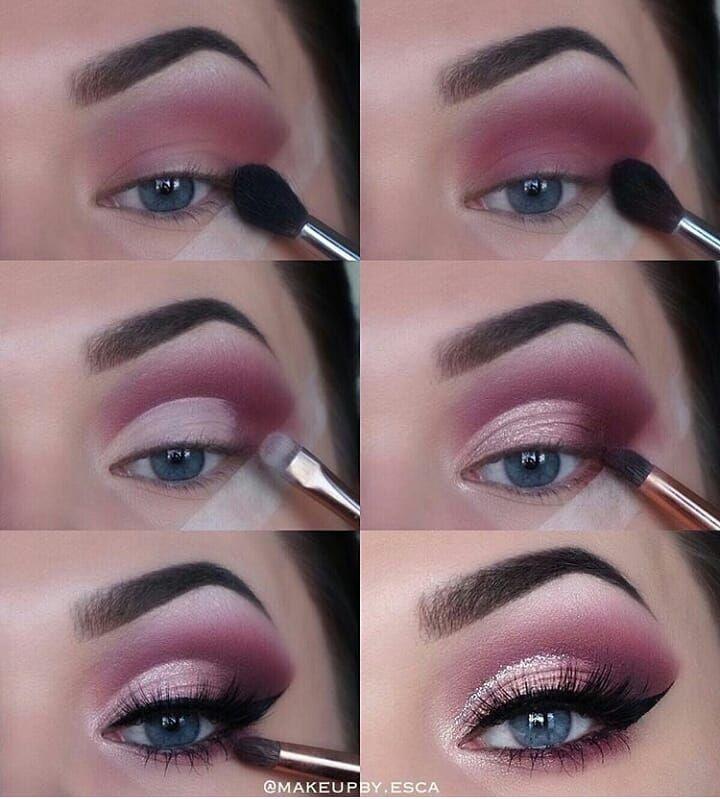Tutorial de maquillaje de ojos Plum Purple Flick Blue Eyes #eye #eyemakeup #makeup #augenma … – Moda para mujer