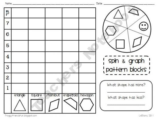 everyday math pattern block template - several graphing tallying and sorting activities using