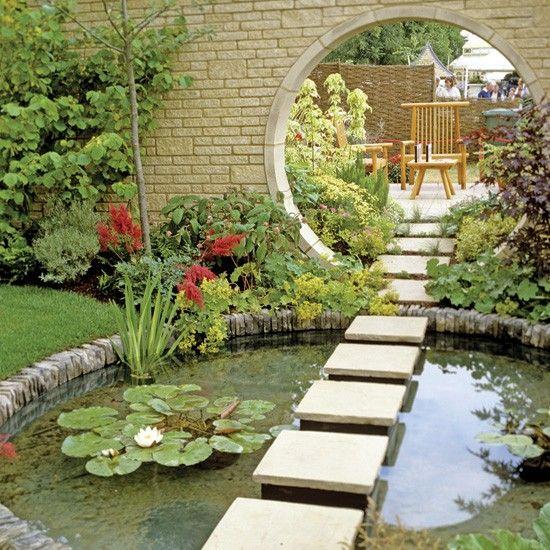 Estanque en el jard n jard nes y flores pinterest - Estanque en jardin ...