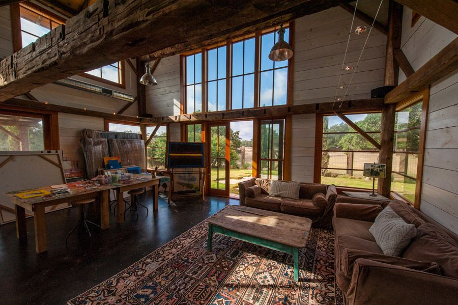 A Circa 1860 Barn Cabin That Serves As Guest Home And Art Studio In Austin Texas