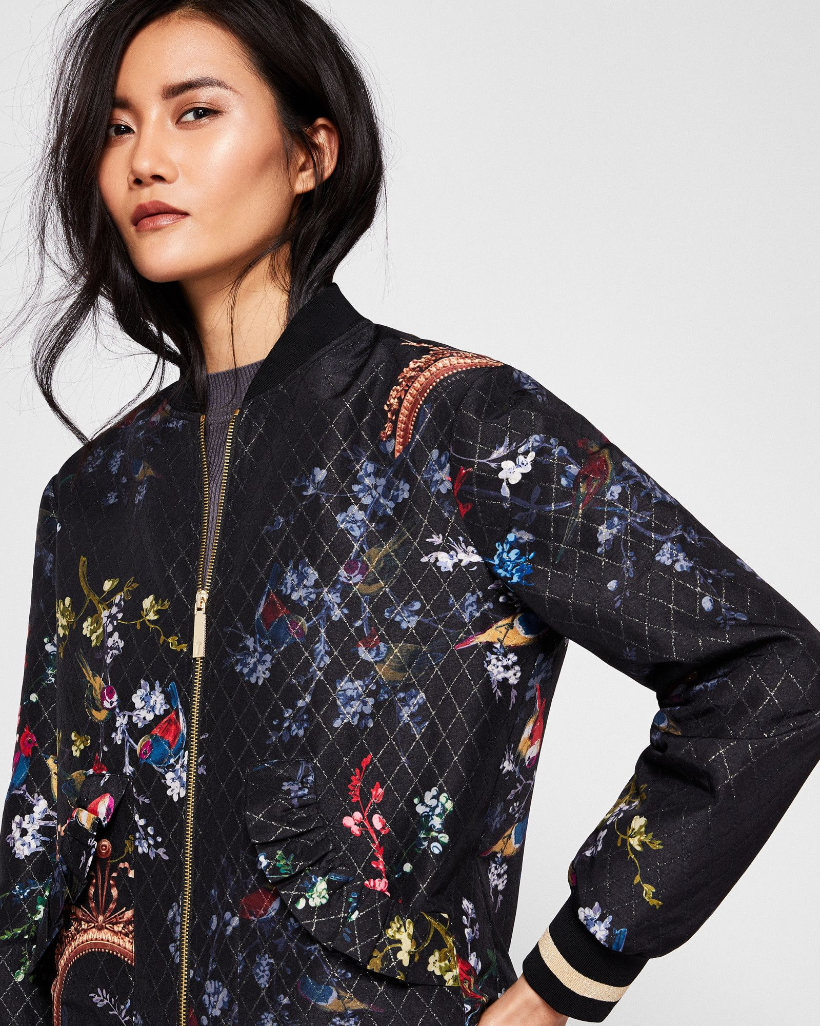 48579798d53 Ted Baker Opulent Fauna bomber jacket Black | Products | Jackets ...