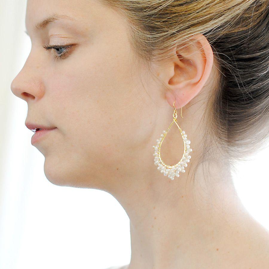 Related image Pearl hoop earrings, Earrings, Hoop earrings