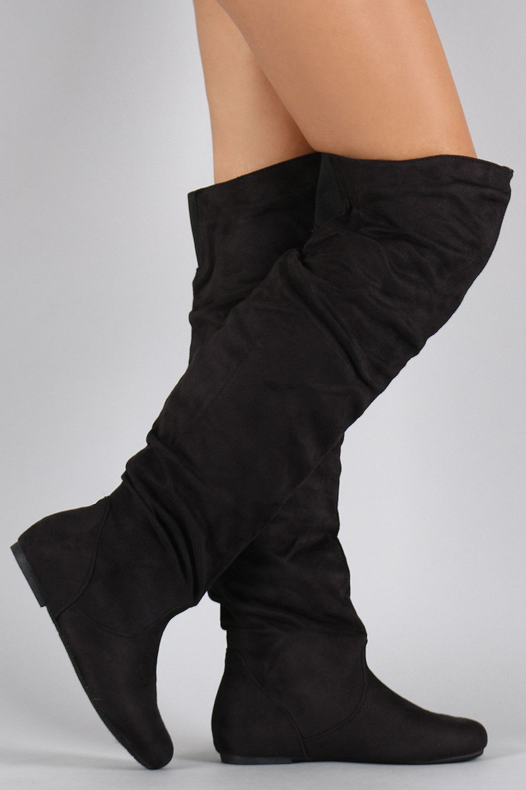 04d0af031034 Suede Slouchy Thigh High Flat Boot