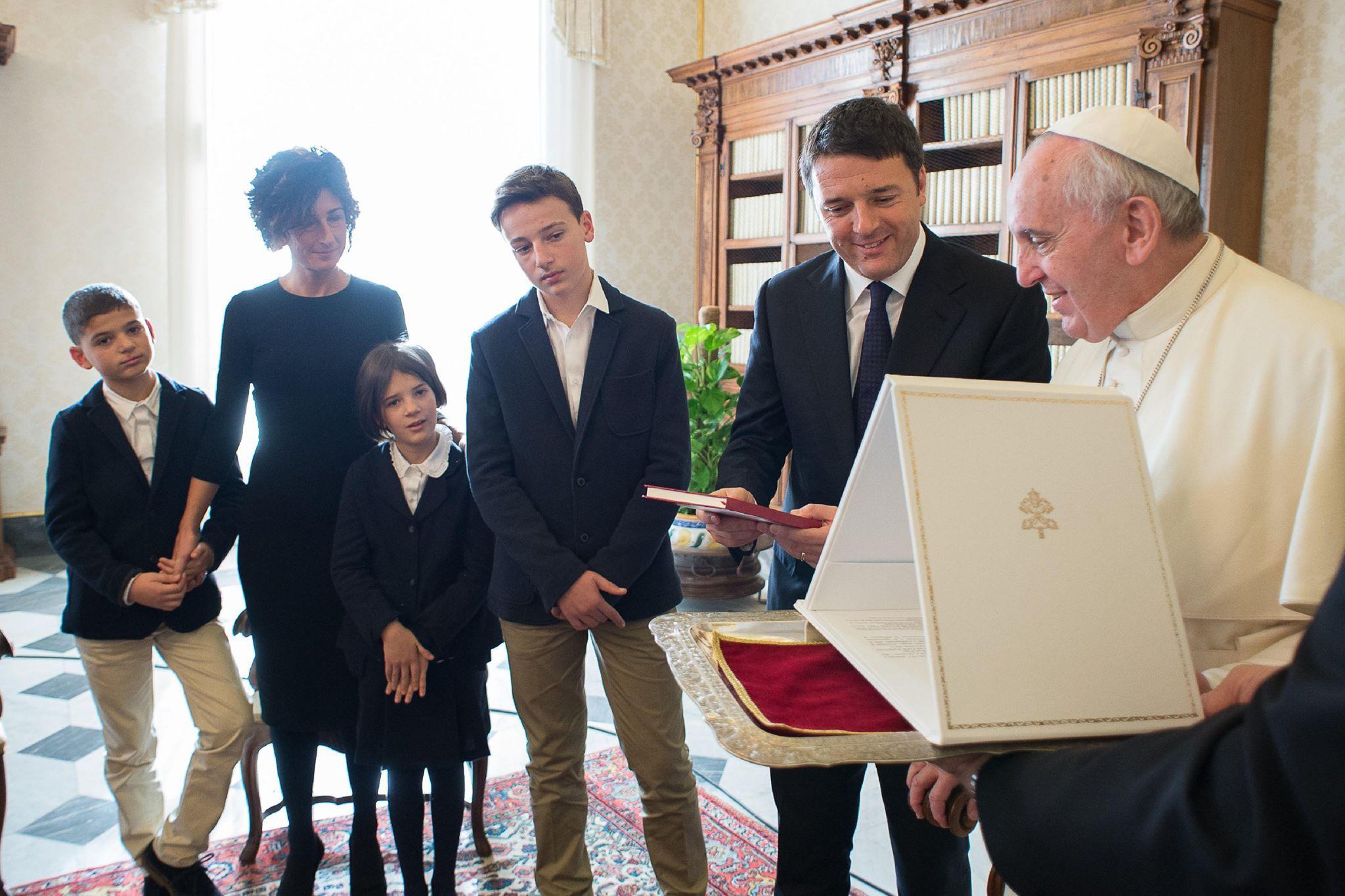 Papa Francesco e la famiglia di Matteo Renzi.