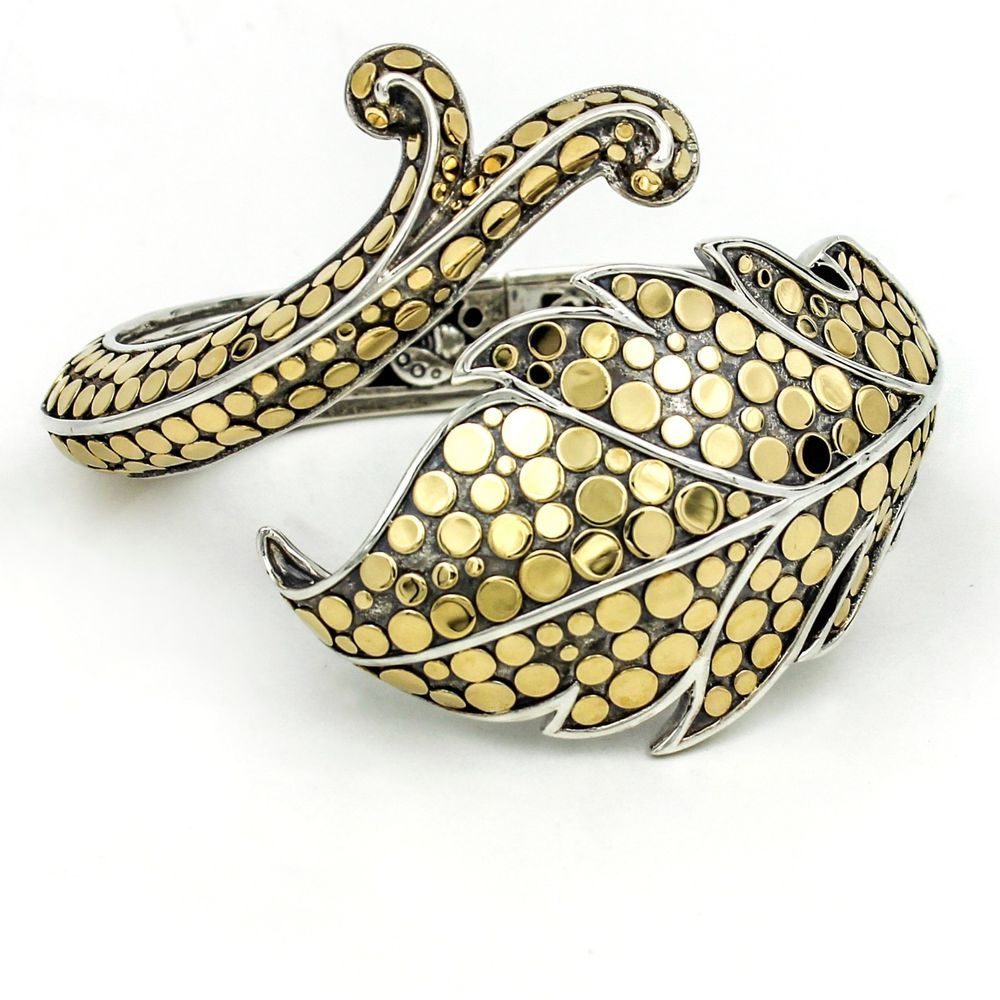 John Hardy Ayu Leaf and Vine Cuff Bracelet in Sterling