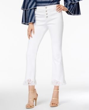 Inc International Concepts Fringe-Trim Cropped Jeans, Only at Macy's - White 18