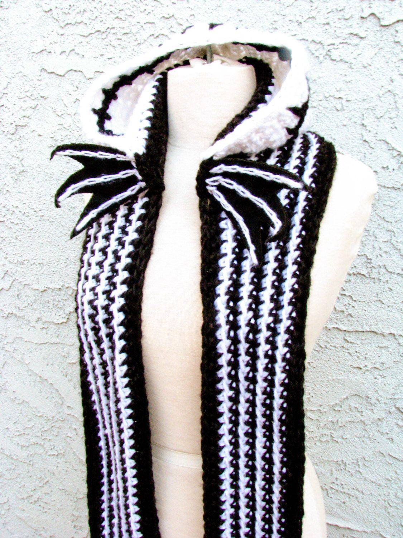 Skeleton Face Hooded Scarf - Handmade Crocheted Scoofie, Made w ...