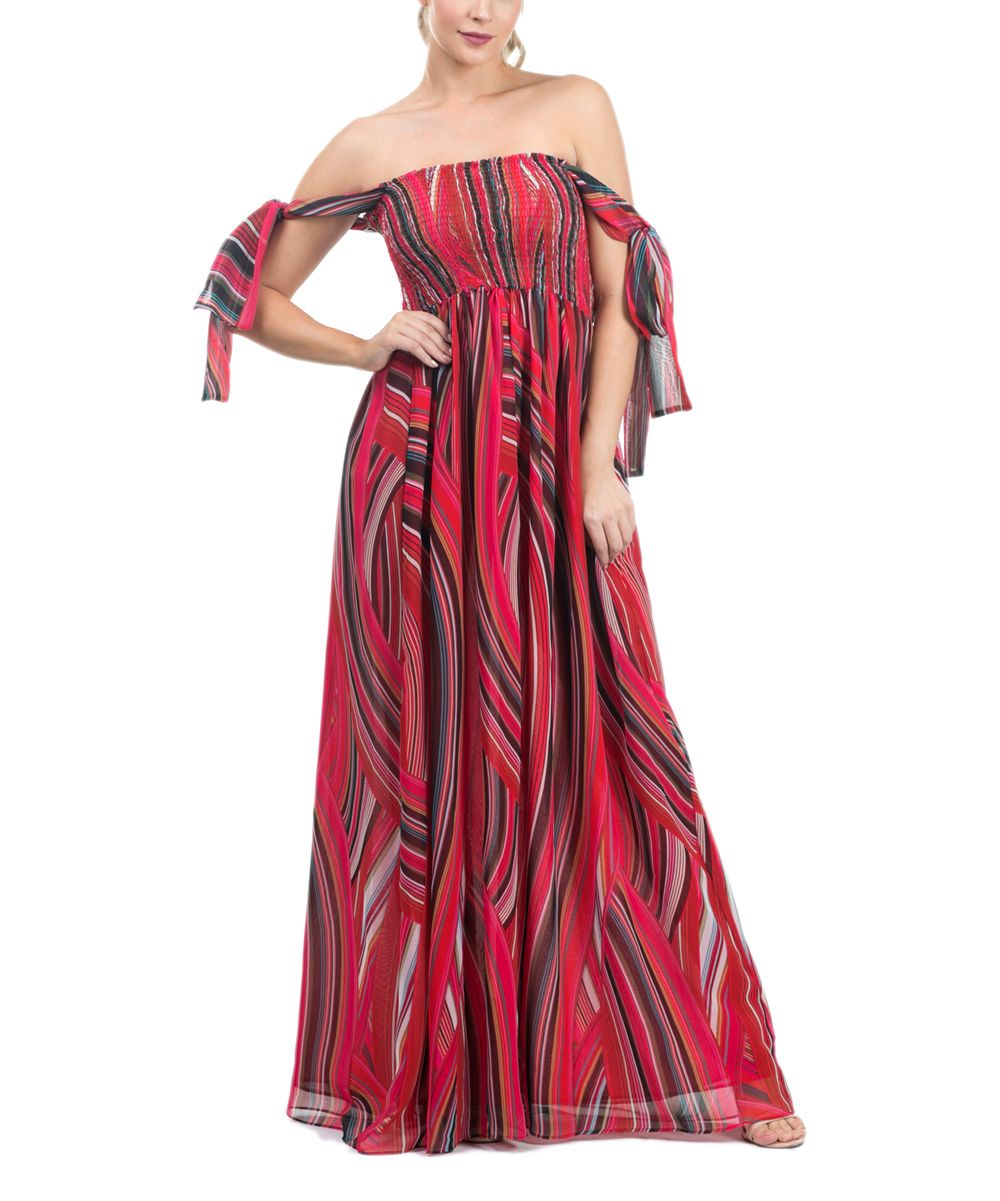 Red abstract offshoulder maxi dress abstract maxis and dresses