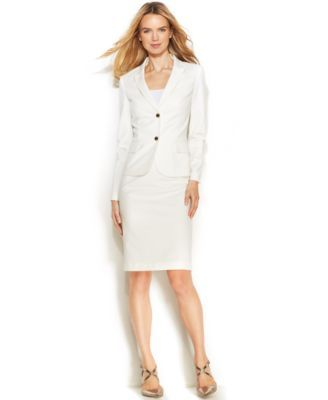Calvin Klein Two Button Cotton Blend Blazer Pencil Skirt My Own