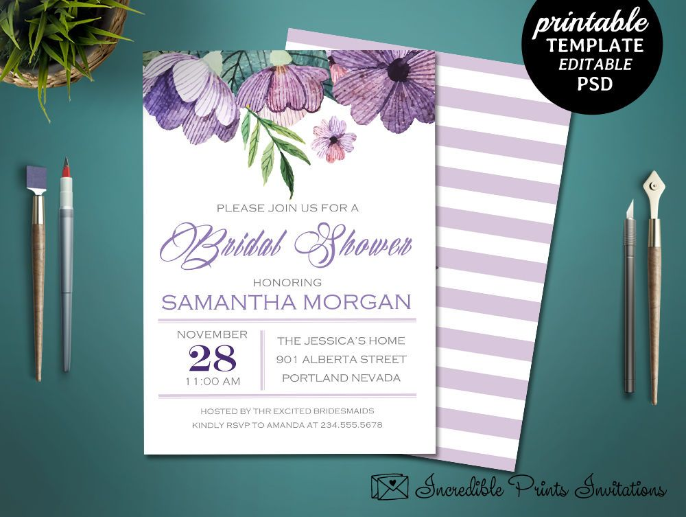 Printable Purple Flowers Bridal Shower Invitation Template Floral - Purple bridal shower invitations templates