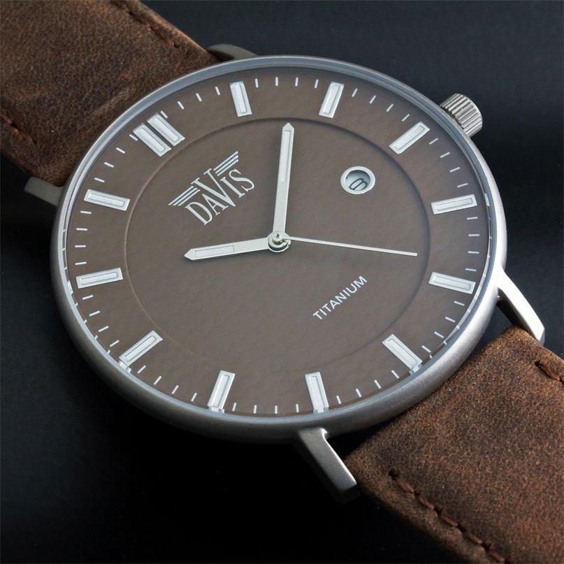 grande vente 31f40 4f594 Montre Design Titane Extra Plate Unisexe Marron Bracelet ...
