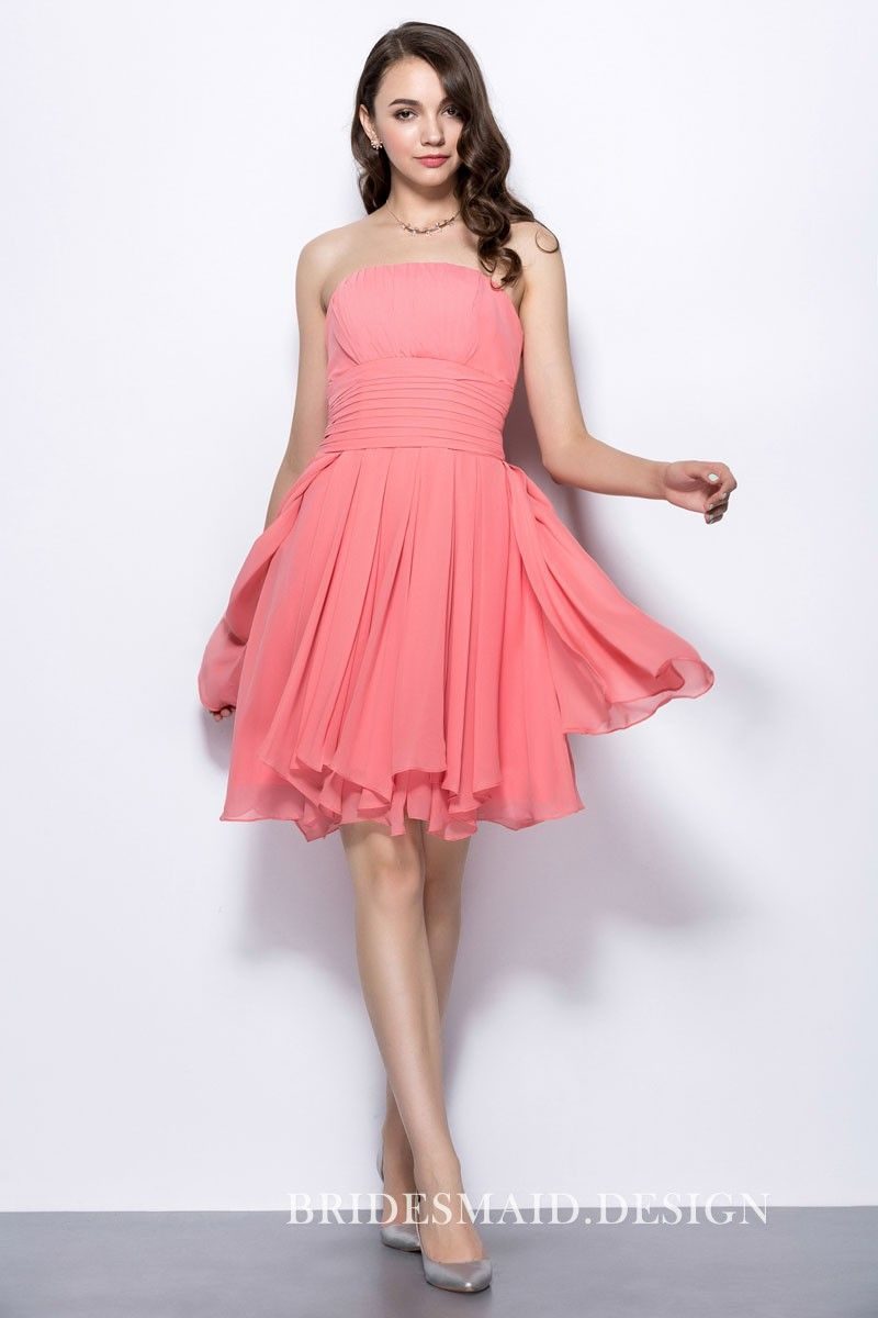 Shirred pink chiffon short strapless casual bridesmaid dress pink