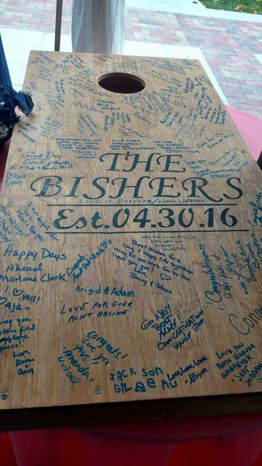 Best Wedding Guest Book | Cornhole Board As Our Guest Book Best Idea We Had Wedding Day