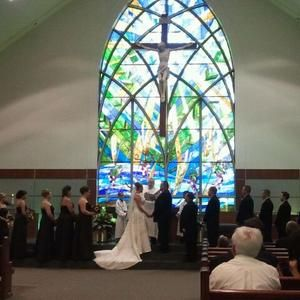 Absolutely Love The Stained Glass Looks Incredible When The Sun Shines In On It St Stephen S Church In Tinley Par Dream Wedding Tinley Park The Incredibles