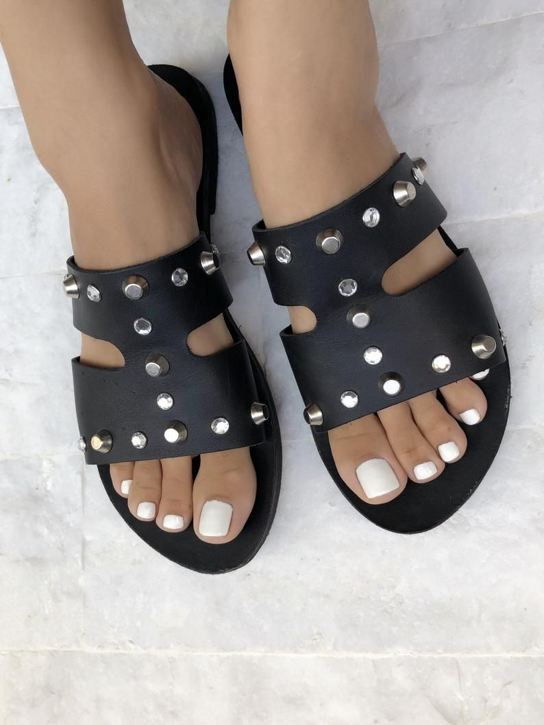 60e53b926 Leather Sandals, Flat Sandals, Black Sandals, Made in Greece from ...
