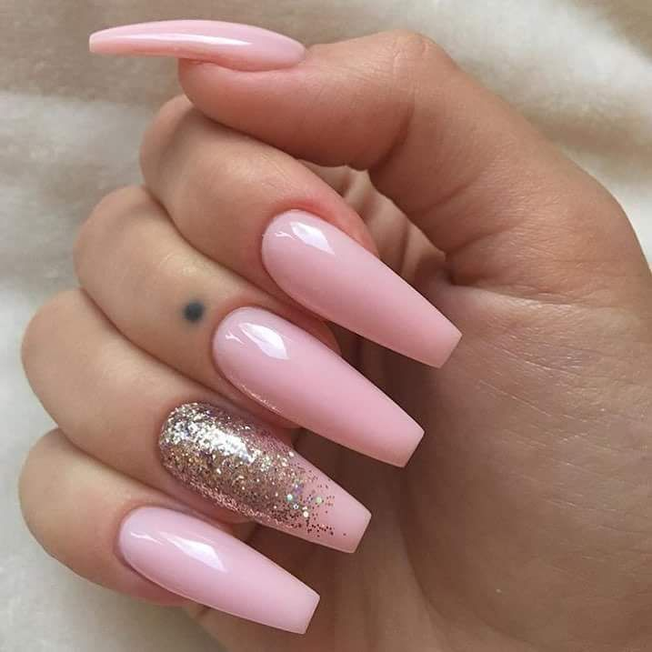 Baby Pink Nail Art With Silver Glitters Glitternails Naildesigns Art Baby Glitternails Glitters Nail Naild Gold Nails Baby Pink Nails Ballerina Nails