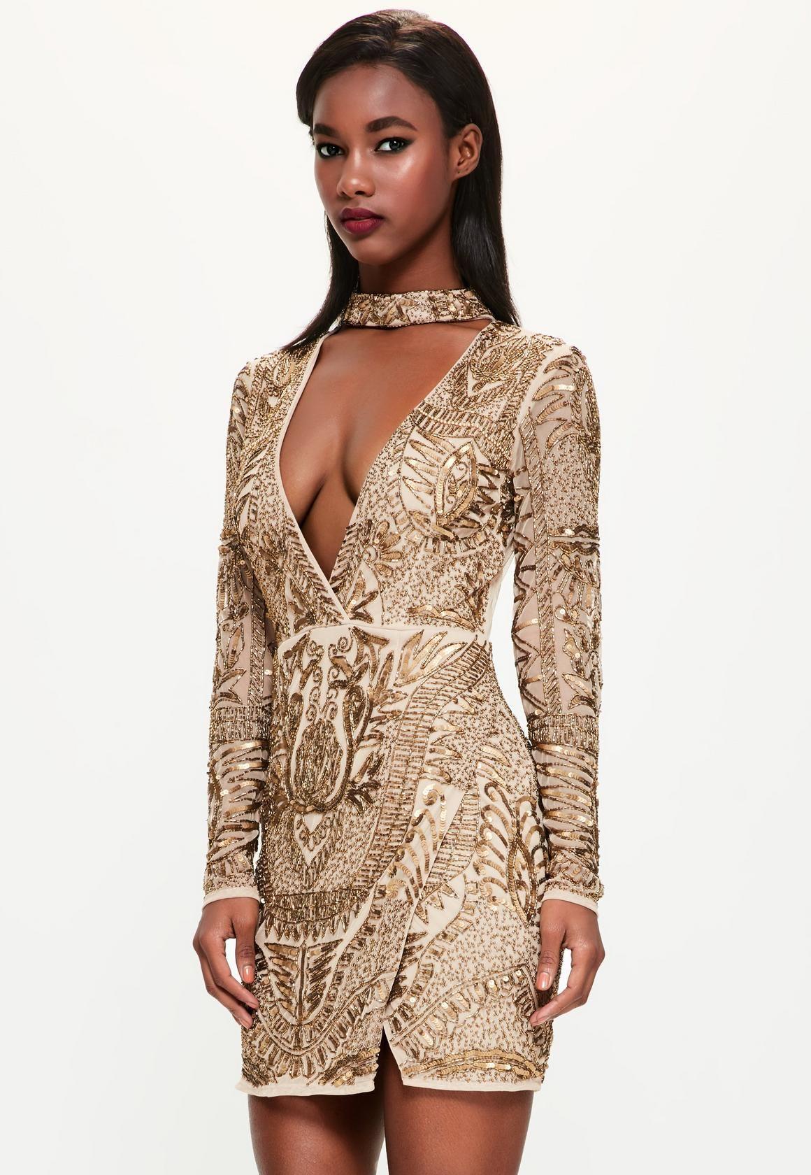 Missguided - Peace Love Bronze Choker Neck Embellished Wrap Dress ...