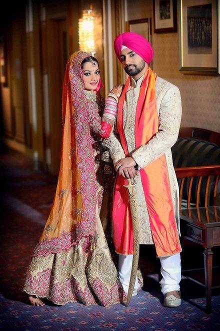 Sikh Couple In Bright Wedding Attire  Punjabi Girls -6143