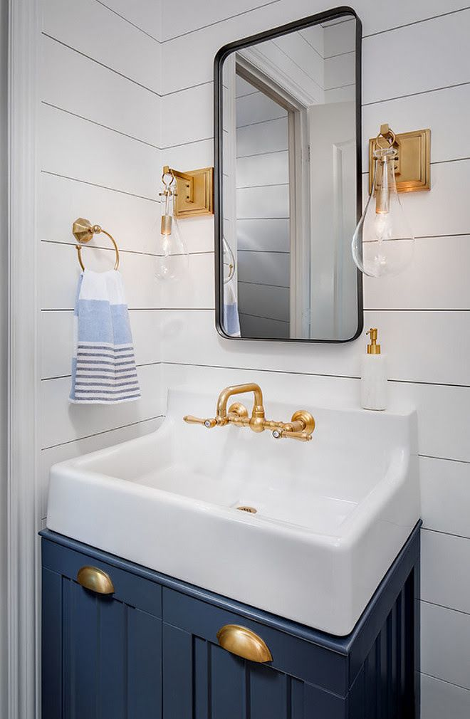 Navy Cabinet With Shiplap Paneling Powder Room Features Small Navy Vanity With Matte Brass Hardware Pool Bathroom Nautical Bathrooms Bathroom Interior Design