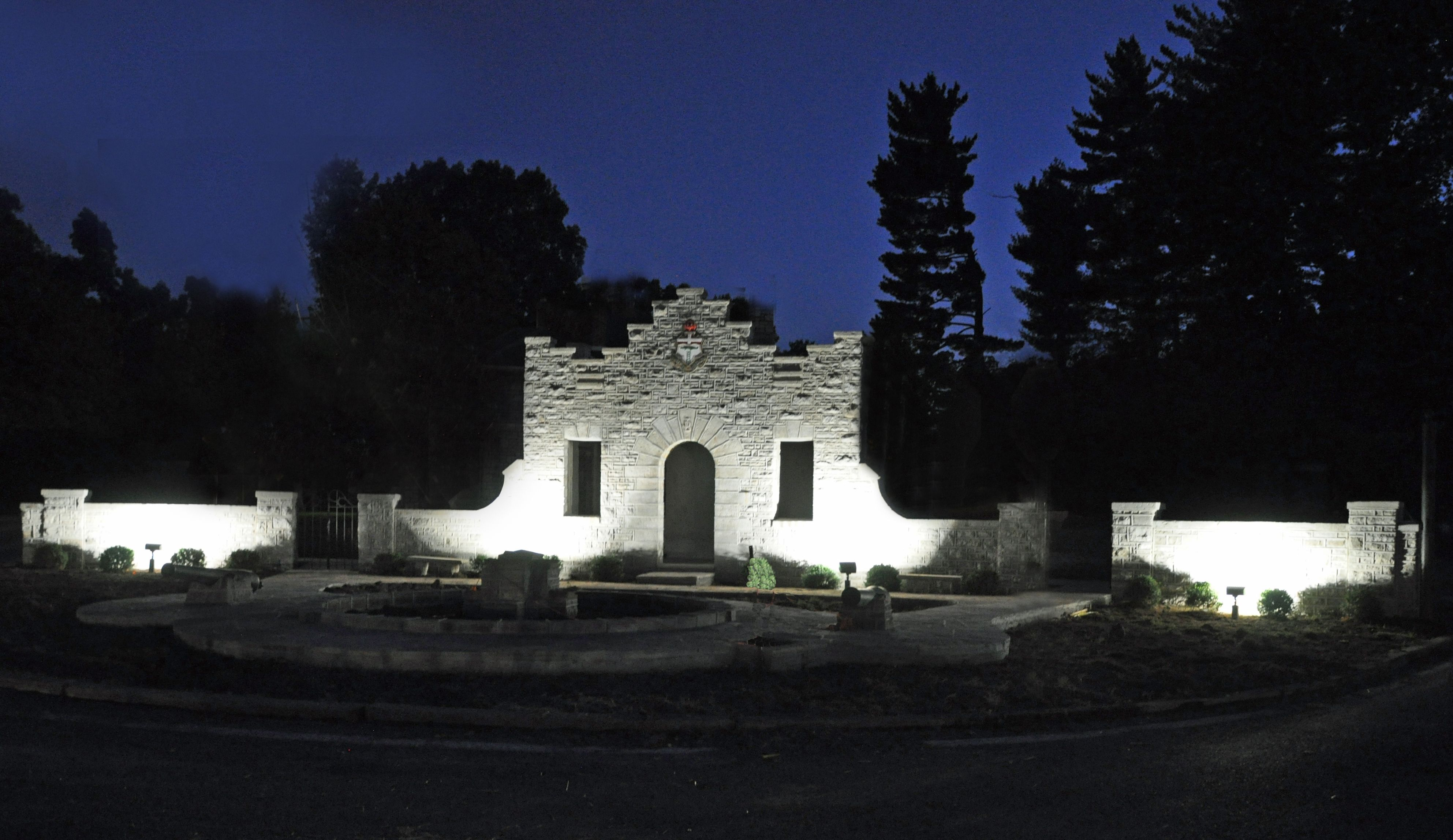Night photo of the north gate of the barracks built in the