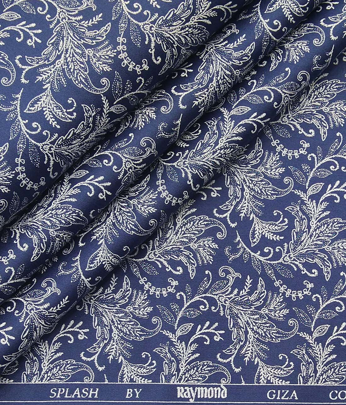 1de7de4fca50 Raymond Dark Royal Blue 100% Giza Cotton White Floral Print Shirt Fabric  (1.60 M)