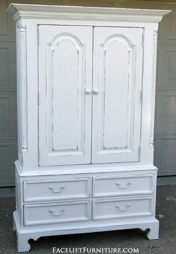Distressed White Clothing Armoire. Facelift Furniture DIY Blog.